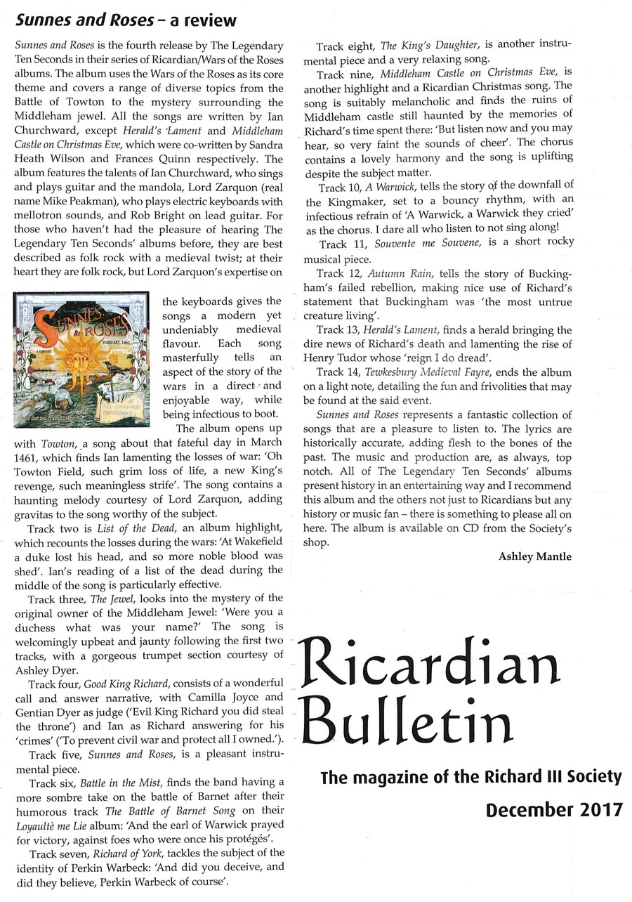 Sunnes & Roses review Ricardian Bulletin